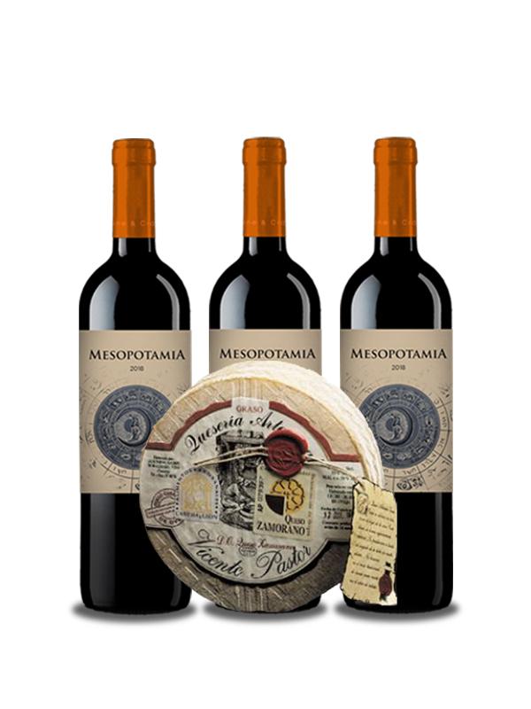 Con Queso y Vino se disfruta el Camino. Lote Vino tinto Mesopotamia Roble 3 bot y Queso Curado Artesano Vicente Pastor 1,3 kg